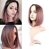 Becus Ombre Black to Pink Short Bob Peluca recta hasta los hombros Peluca sintética para el cabello para mujer
