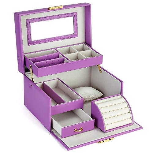 SONGMICS Jewelry Box, Girls Jewelry Organizer, Lockable Mirrored Storage Case,...