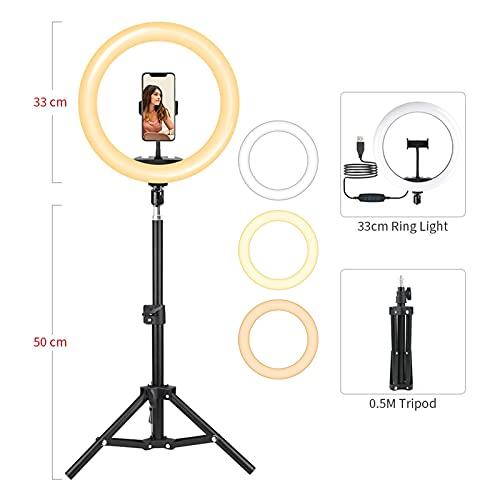 Anillo de luz Trípode ligero anillo de oro de 13 pulgadas DIRIGIÓ Lámpara de llenado Dimmable 33 cm Fotografía Iluminación Luz de llamada Soporte para teléfono para el video de maquillaje de YouTube