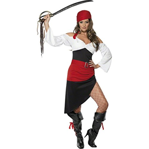 NET TOYS Piratin Kostüm Piratenbraut S 36/38 Piratinkostüm Damenkostüm Seeräuberin Freibeuterin Piratinkostüm