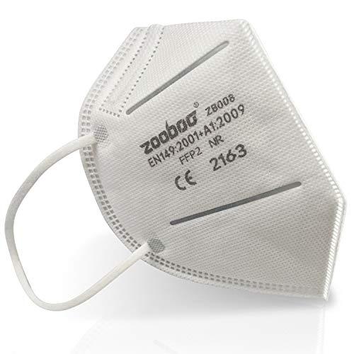 ZooBoo 30x FFP2 Faltbare Atemschutzmaske, Staubschutzmaske - Mundschutz ohne Ventil - einzeln verpackt - CE 2163 zertifiziert