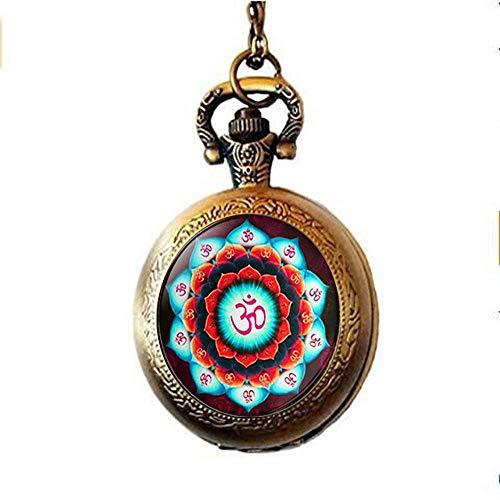 Om, collana con orologio da taschino con ciondolo a forma di fiore di loto Om, portachiavi Zen, gioielli buddisti