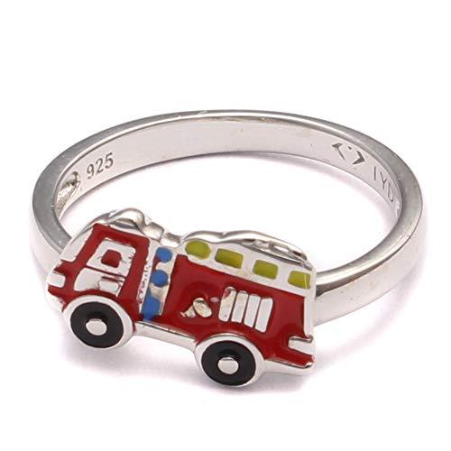 Feuerwehr Auto Kinder Ring, Kinderring 925 Sterling Silber, Junge Schmuck Baustelle, Geschenk Silberring rot, Feuerwehrmann