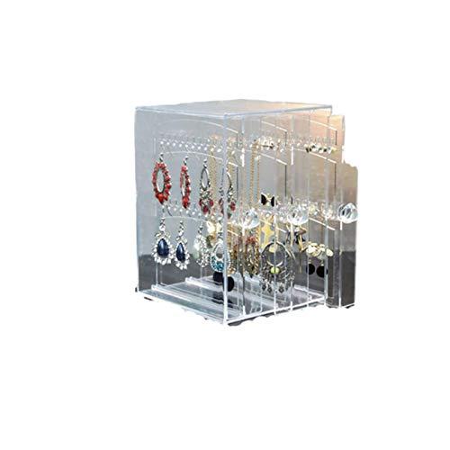 shian Caja Transparente Multifuncional Soporte de exhibición a Prueba de Polvo Collar de Gran Capacidad Caja de Almacenamiento de Pendientes-H