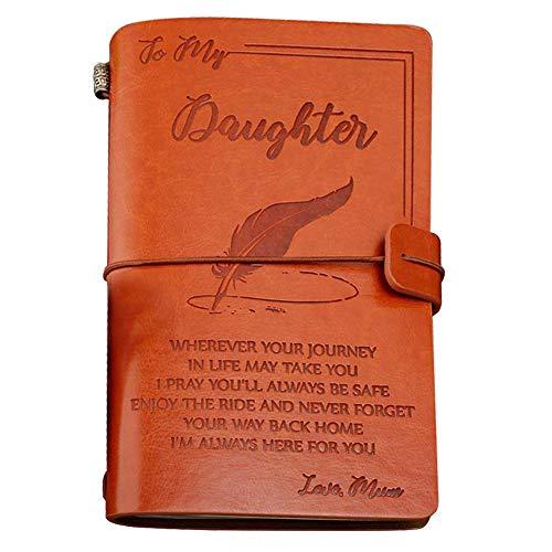 """Leder-Tagebuch, mit englischer Aufschrift To My Daughter– Enjoy The Ride and Never Forget The Way Home"""", Notizbuch, 120 Seiten, Reisetagebuch, Skizzenbuch, Schulabschluss Geschenk für Mädchen"""
