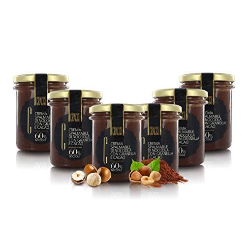 Crema de Avellanas y Cacao con Trocitos de Avellana, 60% Avellanas - Caja de 6 x 175gr