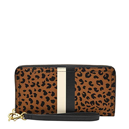 Fossil Women's Logan Faux Leather RFID Zip Around Clutch Wallet, Cheetah