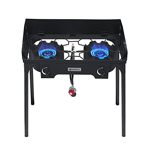 Camplux Outdoor Stove Double Burners Propane Stove 260,000 BTU/Hr Gas Cooker for Outdoor Cooking