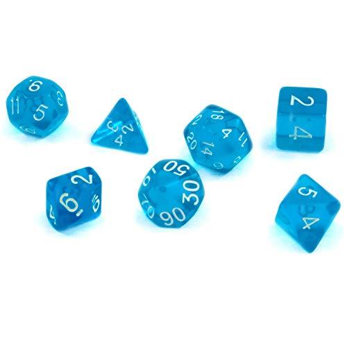 shibby 7 polyedrische Würfel für Rollen- und Tabletopspiele in transparent / blau mit Beutel