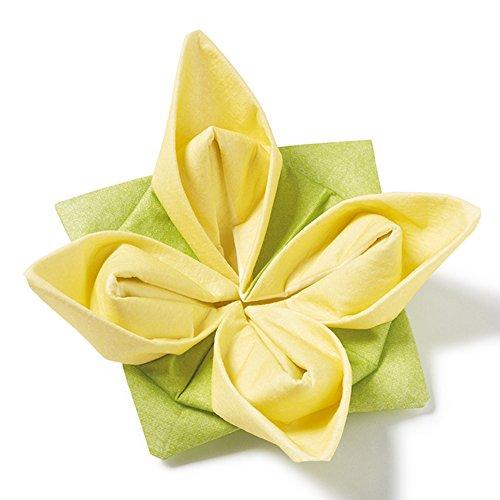 Origami Servietten - Seerose gelb-grün