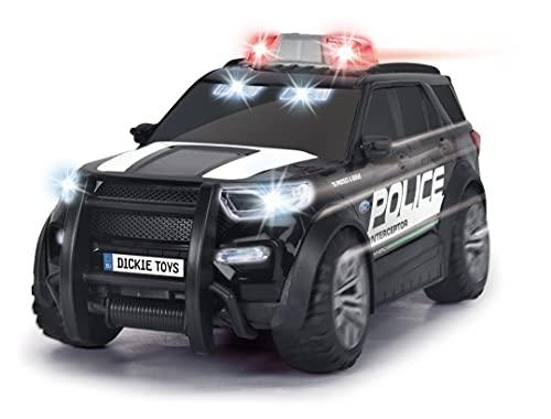 Dickie Toys - Ford Interceptor Polizeiauto XL - 25 cm großer Polizei-SUV, Maßstab 1:18, mit Freilauf, Blaulicht und Sirene, für Kinder ab 3 Jahren