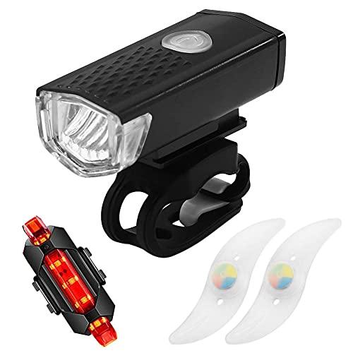 Led Fahrradlicht Set, USB Wiederaufladbare Fahrradbeleuchtung Led MTB Scheinwerfer Rückleuchte Rennrad Rad Speichenlichter 3 Gänge Wasserdicht Mit Frontlicht Rücklicht