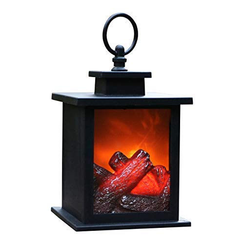 PK Green LED Fireplace Lantern with Unique Flame Fire Effect