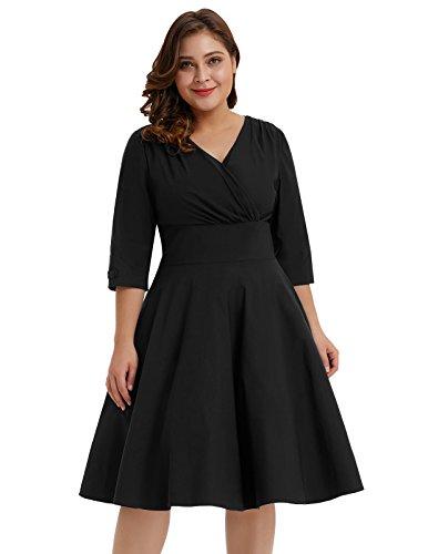Hanna Nikole Women Plus Size Bridesmaid Dresses Loose Casual Summer Dress Black Size 4X