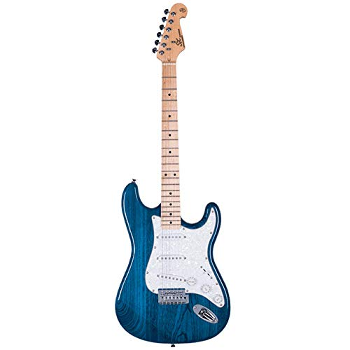SX Guitarra eléctrica SC USA Swamp Ash/Maple, color azul transparente