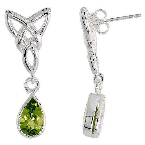 Sterling Silver Peridot Triquetra Earrings Celtic Trinity Knot Teardrop Dangle Post Flawless Finish 1 1/4 inch