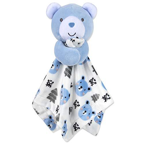 Minky Animal Snuggler Lovey Blanket for Kids, Babies, Boys, Girls, Gender Neutral Security Blanket with Stuffed Animal (Blue Bear)