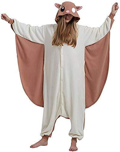 Pkfinrd Erwachsene Pyjamas Unisex Tier Fliegen Maus Onesies Neuheit Fleece Pyjama Nachtwäsche Homewear Onepiece Cosplay Lounge Frauen Geschenke (Color : Flying Mouse, Size : L)