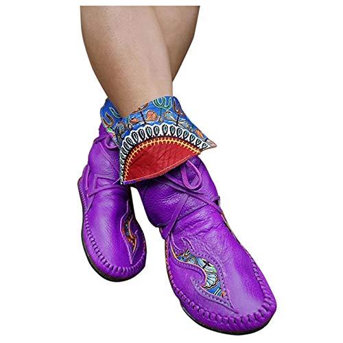 Dasongff Damen Stiefel Weiches Leder Stiefeletten Gefüttert Flache Schnürsenkel Damenstiefel