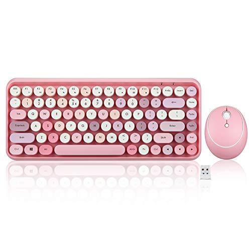 Perixx PERIDUO-713 Wireless Mini Keyboard and Mouse Combo, Retro Round Key Caps, Pastel Pink