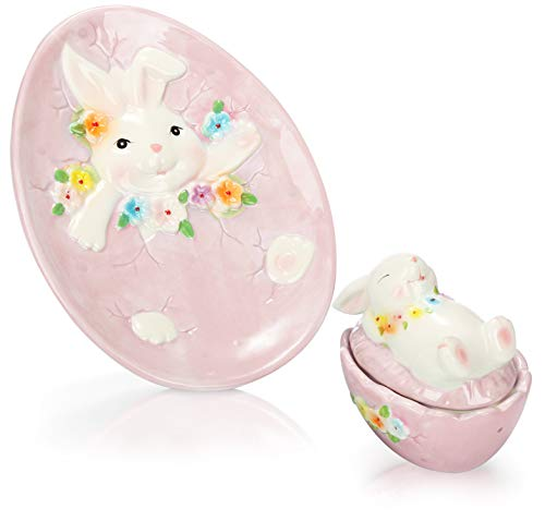com-four Set da tavola Pasquale in 2 Pezzi in Vaso di Ceramica di Alta qualità con Coperchio e Piatto Pasquale con Motivo di Coniglio (2 Pezzi - Scatola + Piatto - Rosa)
