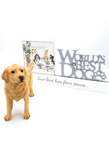 Golden Retriever ornament and 'World's Best Dog' photo frame
