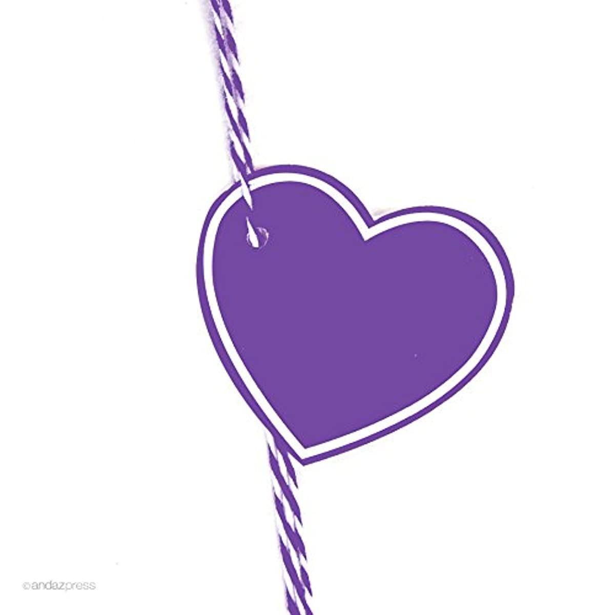 Andaz Press Heart Gift Tags, Solid, Blank, Purple, 30-Pack