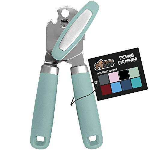 Gorilla Grip Premium Manual Can Opener, Handheld Comfortable Grip, Oversized Easy Turn Knob, Smooth Edges, Hangs for Convenient Storage, Built in Bottle Opener, Blades Easily Open Tin Cans, Mint