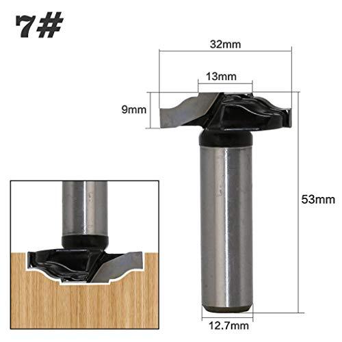 Yintiod 1/2 inch schacht houtbewerking deurkozijn frees hout deur kastbits voor gravure frees gereedschap kit 07 zwart en zilver.