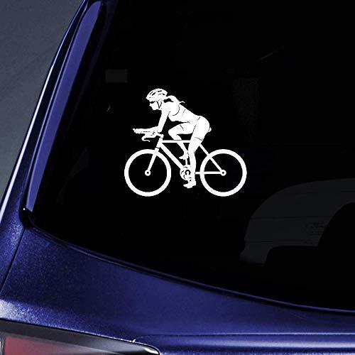 15.4Cmx13.5Cm Sport Bike Donna Femmina Ciclista Adesivo Adesivo per auto Adesivi per auto per autoadesivo per vetri per laptop