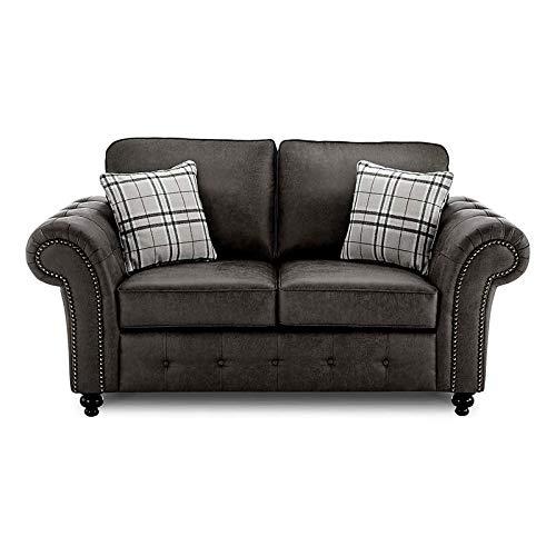 Juego de sofá de 2 + 3 plazas de piel sintética para sala de estar, dormitorio, habitación de invitados y oficina (negro)