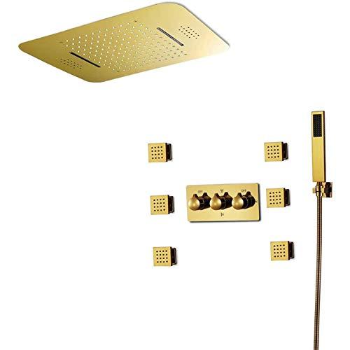 Sistema de Ducha con Termostato Juego de Ducha Kit de Ducha Sistema de Ducha Musical Cabezal Diseño Clásico 580X380mm Barra De Ducha De Acero Inoxidable