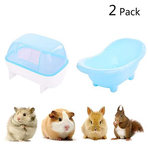 Kuoser Hamster-Badewanne und Saunahaus, für den Sommer, kühler Kunststoff, für kleine Tiere, Chinchilla, goldene Bären, Hamster, Wüstenmaus, 2 Stück