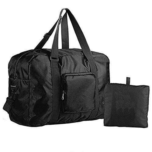 VonLott leichte Reisetasche Handgepäck faltbar 40l Weekender Duffel Sporttasche für Reisen Gym Fitness Urlaub (schwarz)