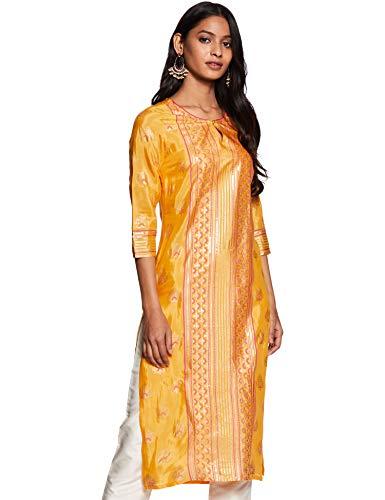 Aurelia Women's Kurta (19AUA10943-500569_Yellow Small)