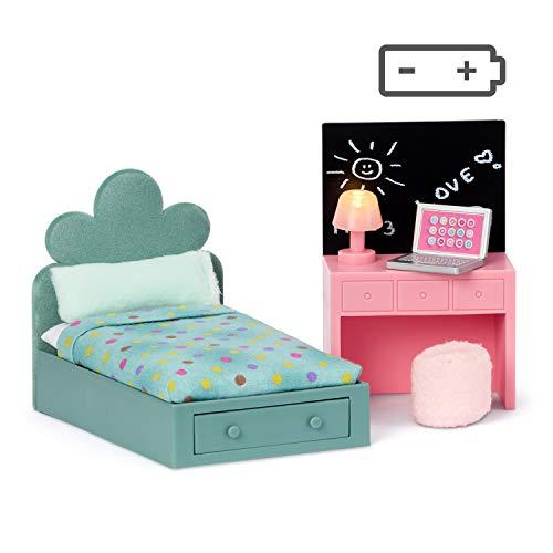 Lundby 60-202900 - Jugendzimmer Puppenhaus - Möbel 5-teilig - Puppenhauszubehör - Kinderzimmer - LED-Beleuchtung - Kinderbett - Schreibtisch - Laptop - Zubehör - ab 4 Jahre - Minipuppen 1:18