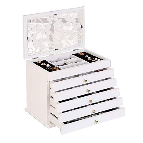 WOZUIMEI Caja de Joyería Vitrina de Madera Caja de Almacenamiento Multiusos de Escritorio de Talla Calada de Alta Capacidad de 6 Capas para Caja de Baratijas de Joyeríablanco