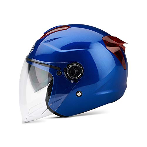 BOSEMAN Casco de Motocicleta con Visera, Adecuado para ciclomotores, Scooters, cruceros, Pase la Prueba de colisión para Cumplir con la Seguridad Vial(Azul)