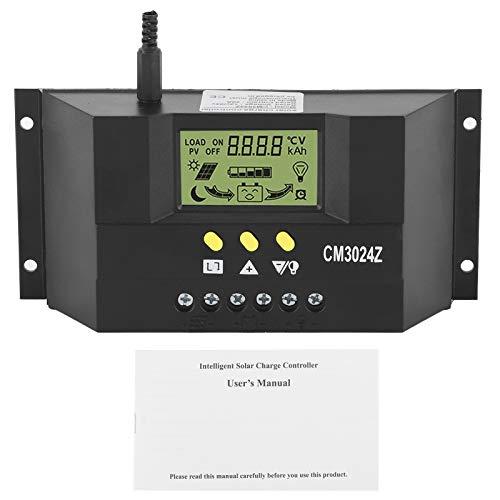 Regulador de carga solar, 12V 24V 30A Regulador de carga solar Regulador PWM Pantalla LCD para el hogar Protección de sobrecarga comercial industrial Compensación de temperatura