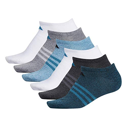 adidas Women's Superlite No Show Socks (6-Pair), Black - Active Teal Marl/Black - Onix Marl/White/Activ, Medium, (Shoe Size 5-10)