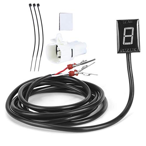Akozon Indicador de Velocidad Pantalla Digital 1 a 6 Niveles Montaje de Enchufe ECU Apto para GSX-R1000 GSX-R7500(Luz roja)