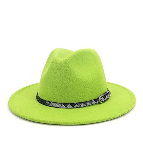AAAGX Invierno Otoño Fresco Cinturón Estilo Algodón Hombres Fedora Sombrero De Fedora, para Fiesta De Fiesta De Fiesta Gorro De Boda Jazz(Size: 59-61cm,Color:Verde)