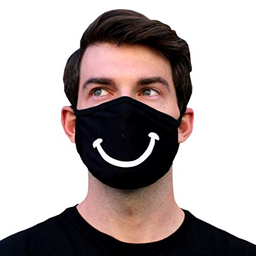 Funny Smile Mask Happy Smiley Grin Smiling Machine Washable Cotton Black Bandana For Men Women Teenagers Dust Pollen Pollutants Costume by Millennials In Motion