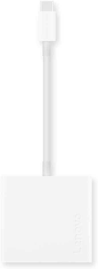 Lenovo USB-C 3-in-1 Travel Hub, 4K HDMI, VGA, USB 3.0, Plug and Play, Only 0.08 lbs, GX90T33021, White