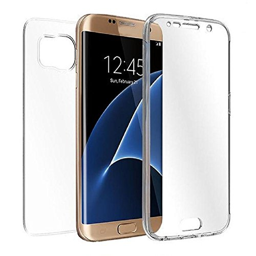 REY Funda Carcasa Gel Transparente Doble 360º para Samsung Galaxy S7 Edge, Ultra Fina 0,33mm, Silicona TPU de Alta Resistencia y Flexibilidad
