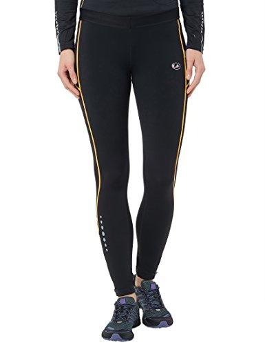 Ultrasport Damen Laufhose gefüttert mit Quick-Dry-Funktion lang, black yellow, L, 380100000216