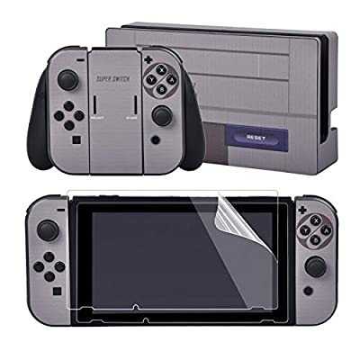 eXtremeRate Full Set Faceplate Skin Decal Stickers for Nintendo Switch/NS with 2Pcs Screen Protector (Console & Joy-con & Dock & Grip)