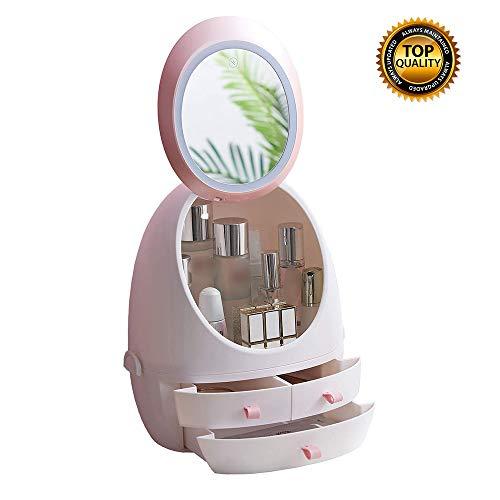 Tool House Miroir De Courtoisie De Maquillage éclairé par LED Rechargeable Boîtes De Présentation De Stockage Cosmétique D'organisateur De Maquillage avec Miroir Lumineux Mené,Pink
