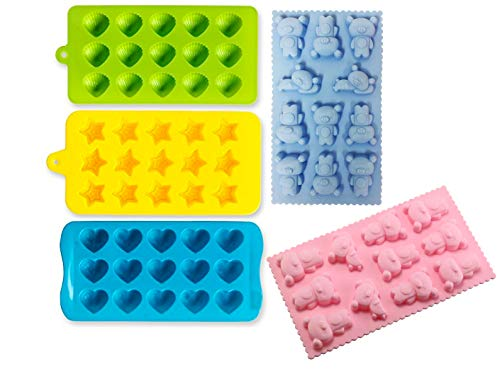 Ice Cube Making Nonstick Silicone Tray Including Hearts, Stars, Shells & Bears Set of 5 Best Food Grade Silicone Molds