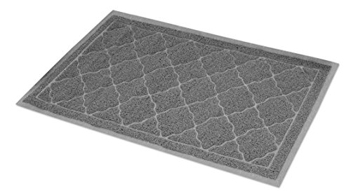 Internet's Best Cat Litter Mat - 35 x 24 - Large - Kitty Litter Mat and Trap - Crystal Catcher Mat and Scatter Control - Soft Paw Touch - Works with Litter Box Cat Houses - Gray